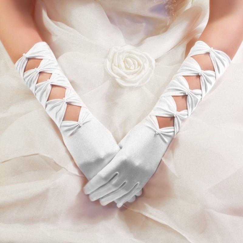 Gants Longs en Satin à Perles Noeuds Blanc
