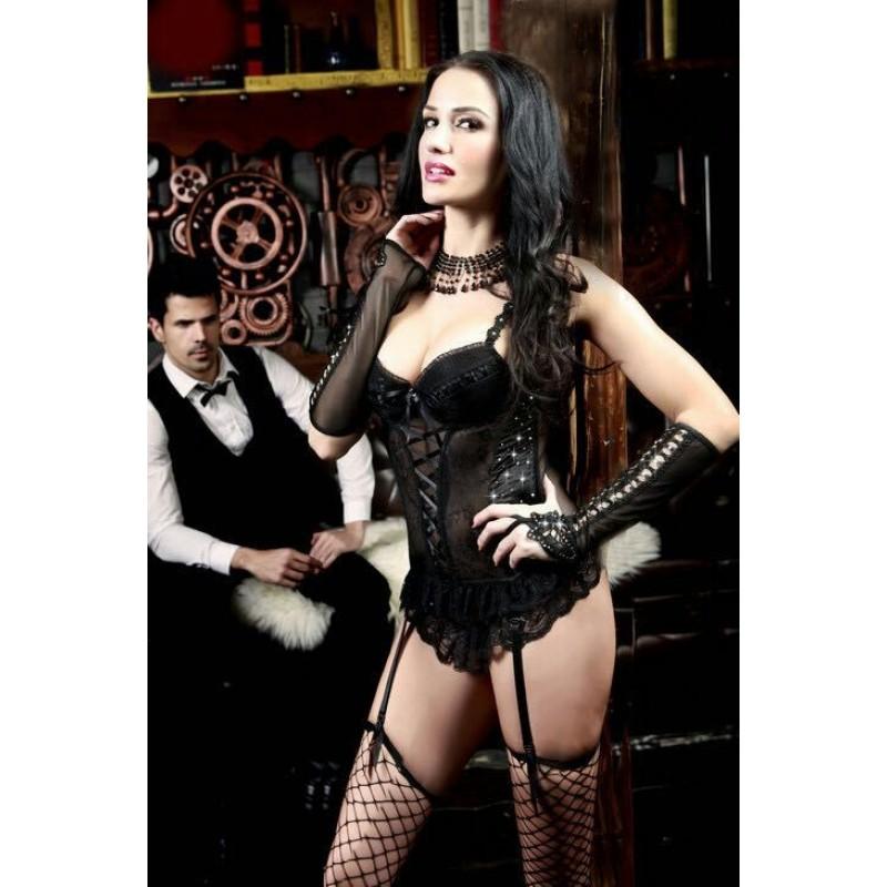 Corset Bustier Noir Transparent Burlesque Strass Bas