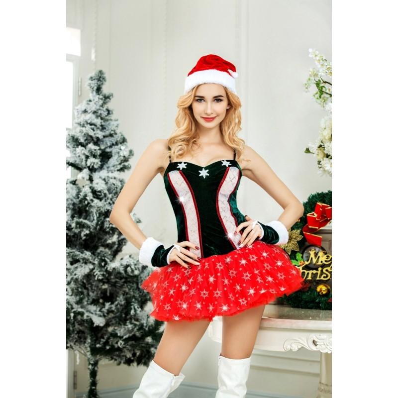 Tenue Robe Vert Mere Noel Snowflake TuTu Rouge 4 pcs