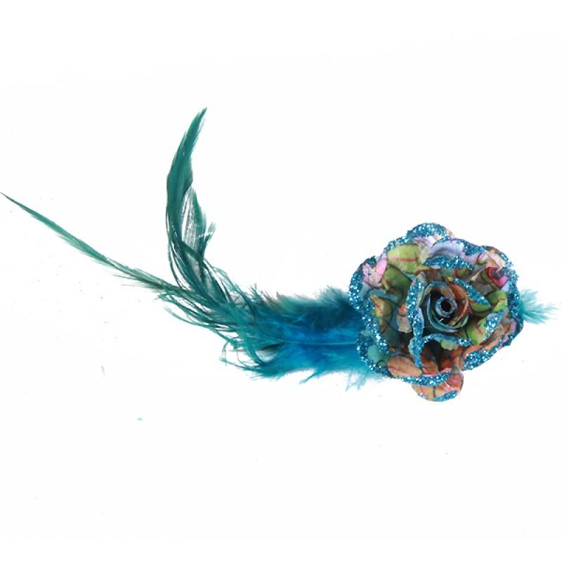 Pince Mariage Fleur Tissu Coloré Scintillant Bleu
