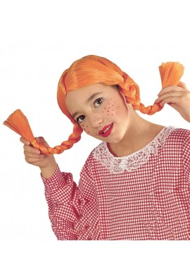 Widmann Perruque Fifi Brindacier Enfant Avec Tresses Orange