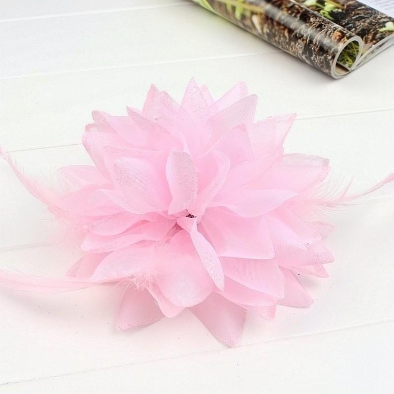 Pince Broche Elastique Mariage Fleur Tulle et Dentelle Scintillants Rose