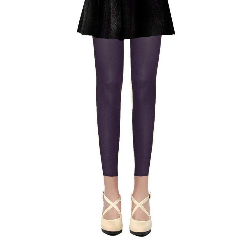 Collants Voile Opaques 50 Deniers Sans Pied Leggings Violet Nuit