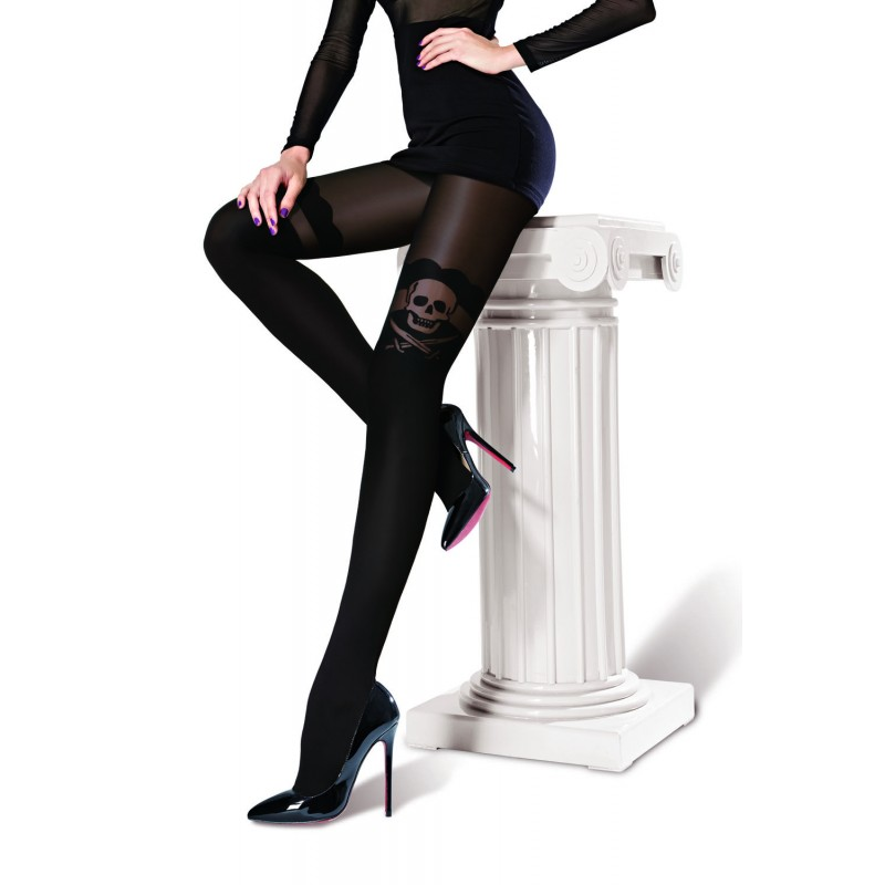 Collant Voile Noir Opaque Fantaisie Pirate Jacquard Pantyhose