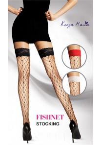 Bas Résille Large Filet Couture Dentelle (Noir, Rouge, Blanc)
