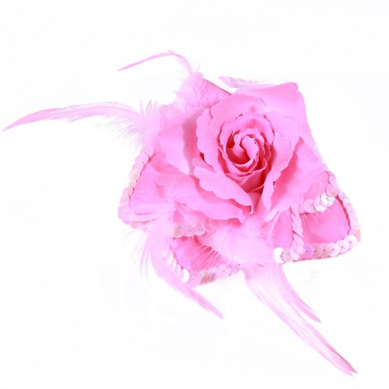 Broche Elastique Mariage Fleur Tissu Scintillante Paillette Rose