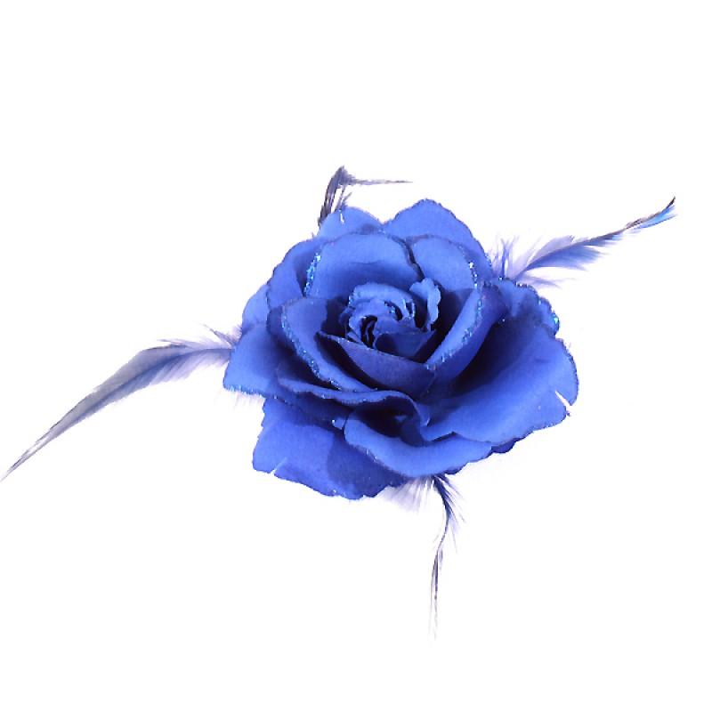 Broche Pince Elastique Mariage Fleur Tissu Scintillants Bleu