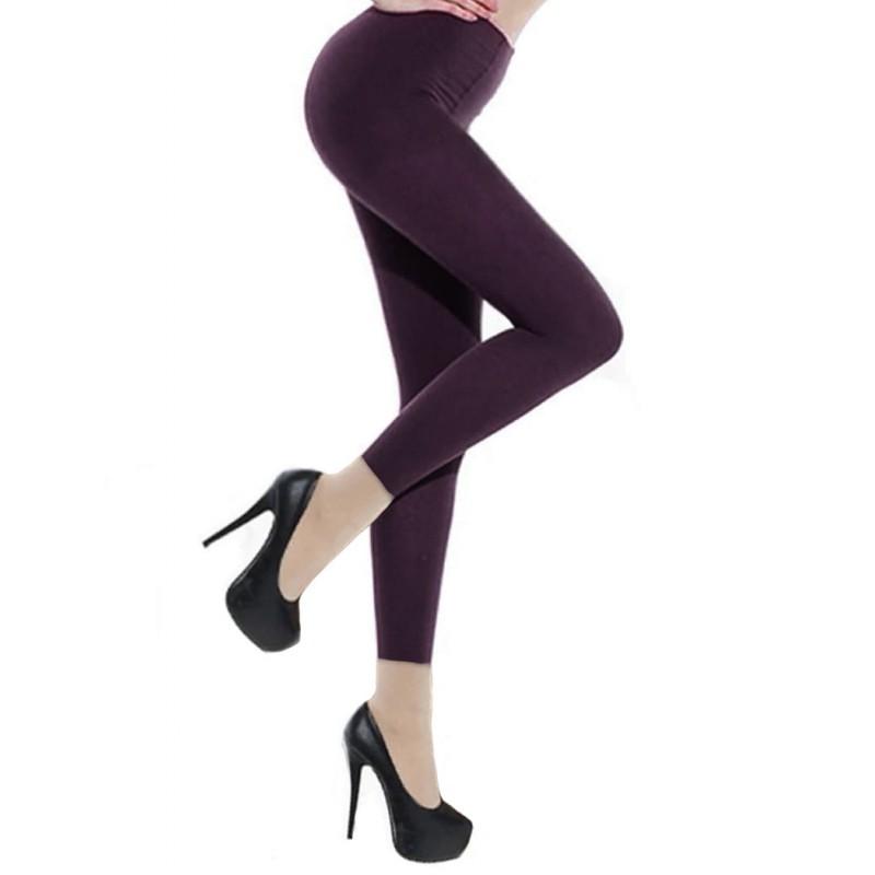Collants Voile Opaques 90 Deniers Sans Pied Leggings Violet Parme