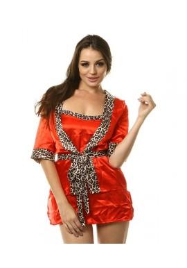Kimono Nuisette Satin Rouge et Leopard