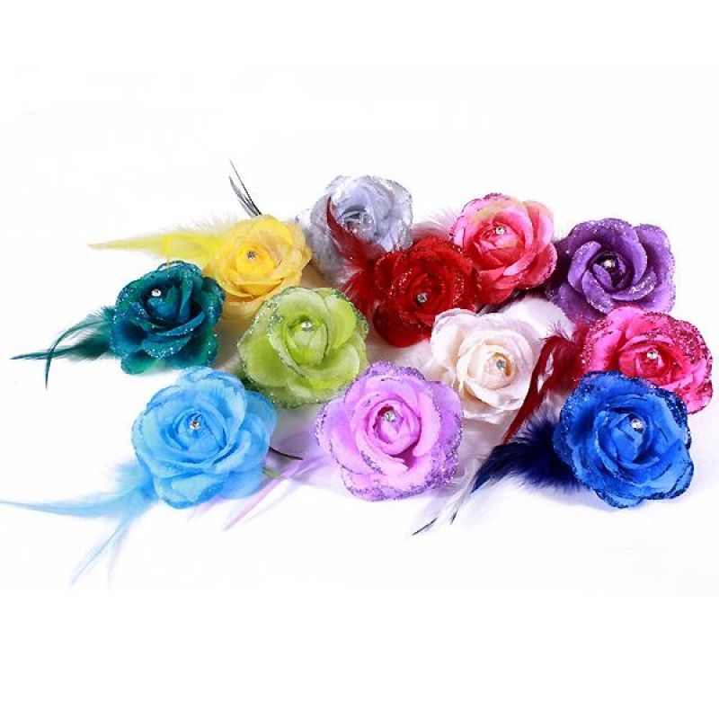 Pince Broche Mariage Fleur Tissu Scintillant Strass (Bleu, Rose, Vert, Beige, Marron, Rouge, Violet, Gris, Noir, Blanc, Jaune)