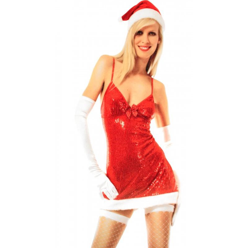 Tenue Christmas Mère Noël Mini Robe Scintillant Déguisement