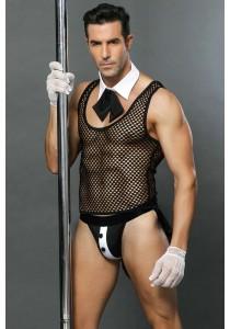 Tenue Stripteaseur Men Majordome T-Shirt Résille