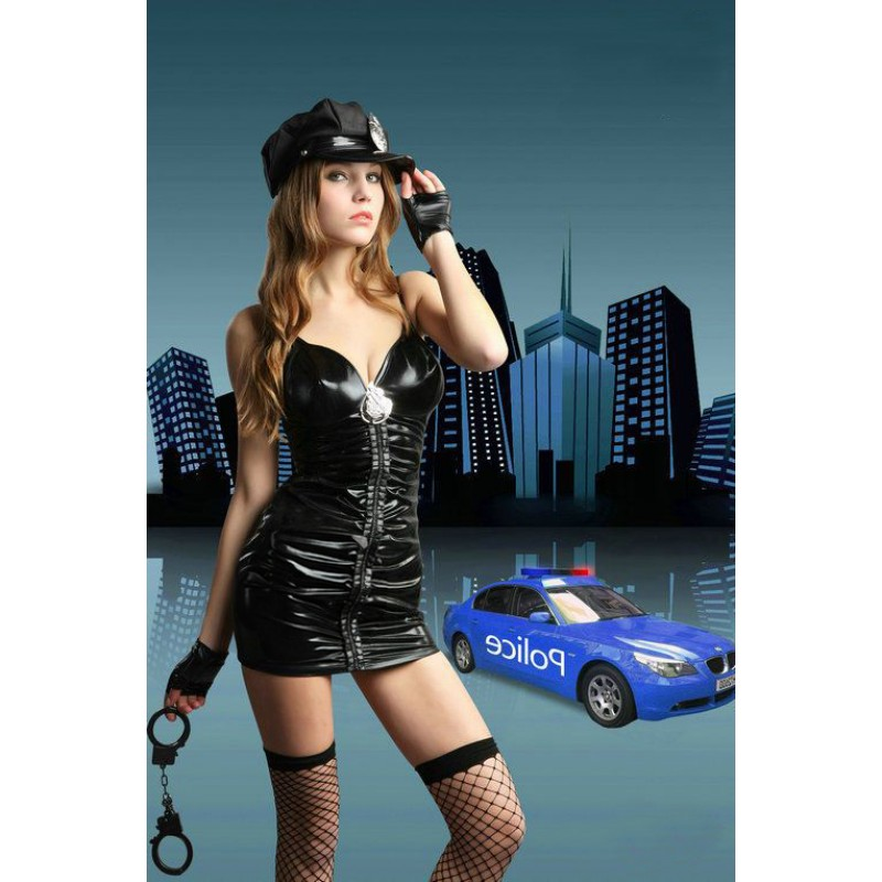 Tenue Police Woman Vinyl PVC Fancy Dress