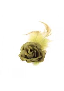 Pince Mariage Fleur Tissu Petit Rose Plumes Vert