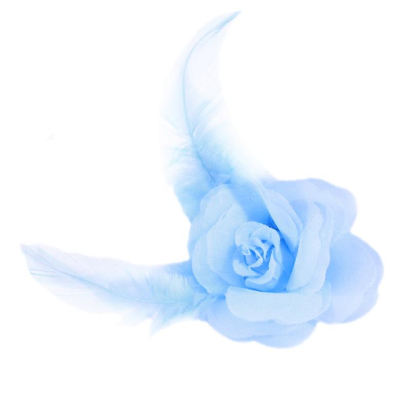 Pince Mariage Fleur Organza Plumes Bleu ciel