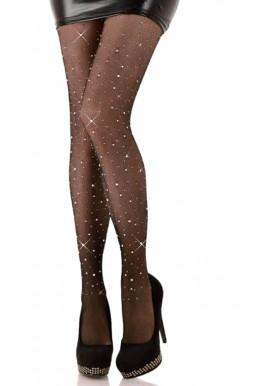 Collant Résille Noir Diamant Crystal Strass Stars