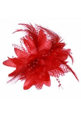 Pince Broche Elastique Mariage Fleur Tulle Dentelle Perlée Rouge