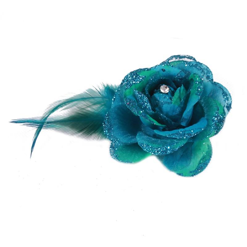 Pince Broche Mariage Fleur Tissu Scintillant Strass Bleu Turquoise