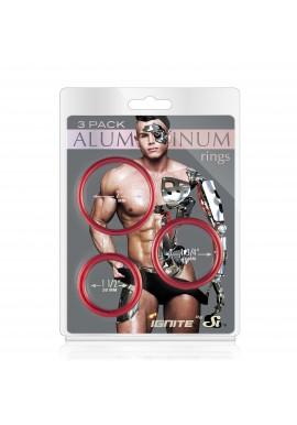 Ignite Kit 3 Anneaux de Pénis Bague Aluminium Ring Rouge