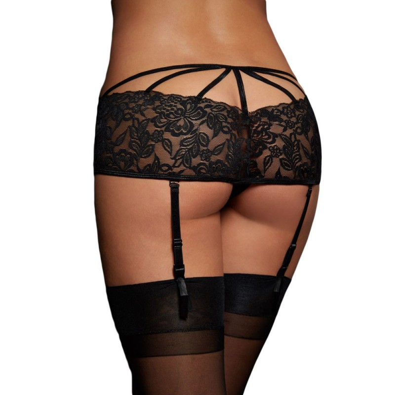 String Porte Jarretelle Dentelle Filet Noir