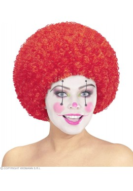 Widmann Perruque Bouclé Afro Clown Rouge