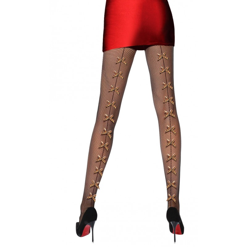 Collant Resille effet Couture Noeuds Leopard