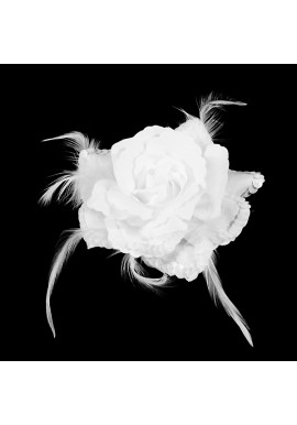 Broche Elastique Mariage Fleur Tissu Scintillante Paillette Blanche