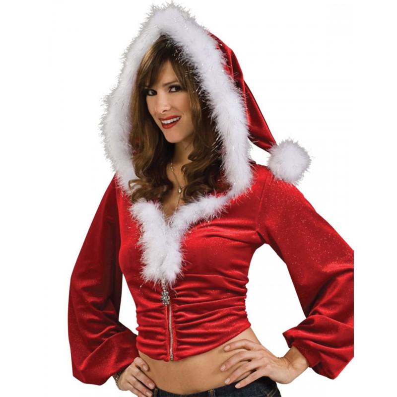 Veste Capuche Tenue Mère Noël Sexy