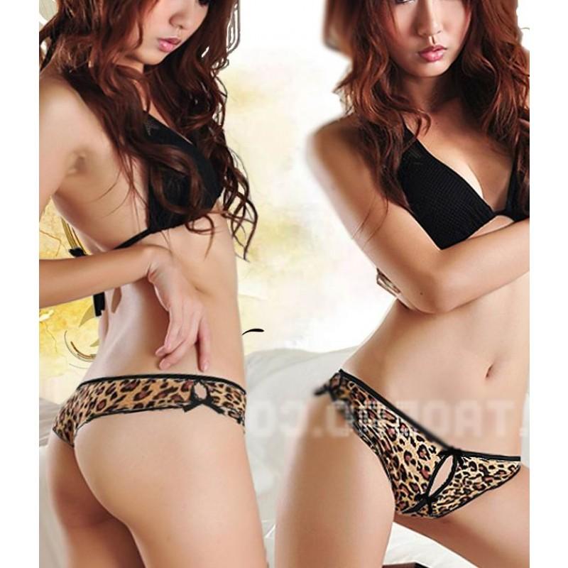 Culotte Fendu Leopard Noeud Noir