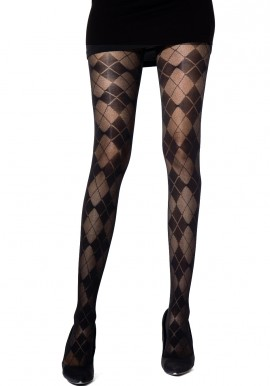 Collants Noir Jacquard à Motifs Losanges