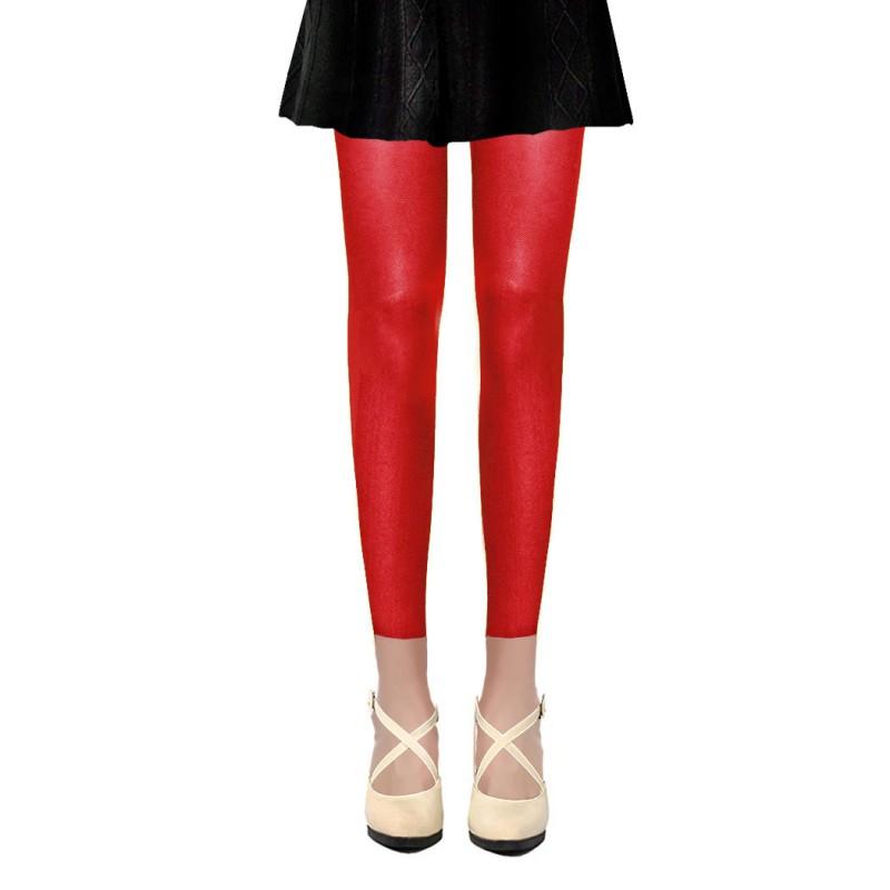 Collants Voile Opaques 50 Deniers Sans Pied Leggings Rouge