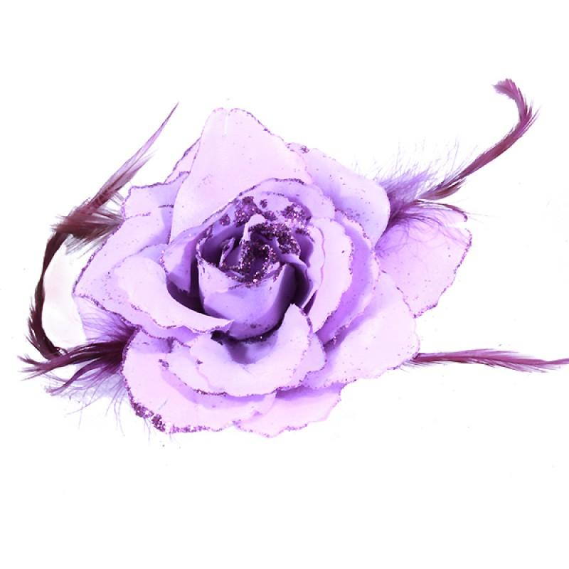 Broche Pince Elastique Mariage Fleur Tissu Scintillants Violet