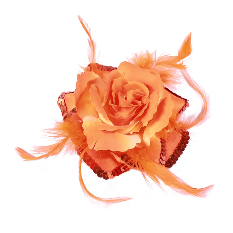 Broche Elastique Mariage Fleur Tissu Scintillante Paillette Orange