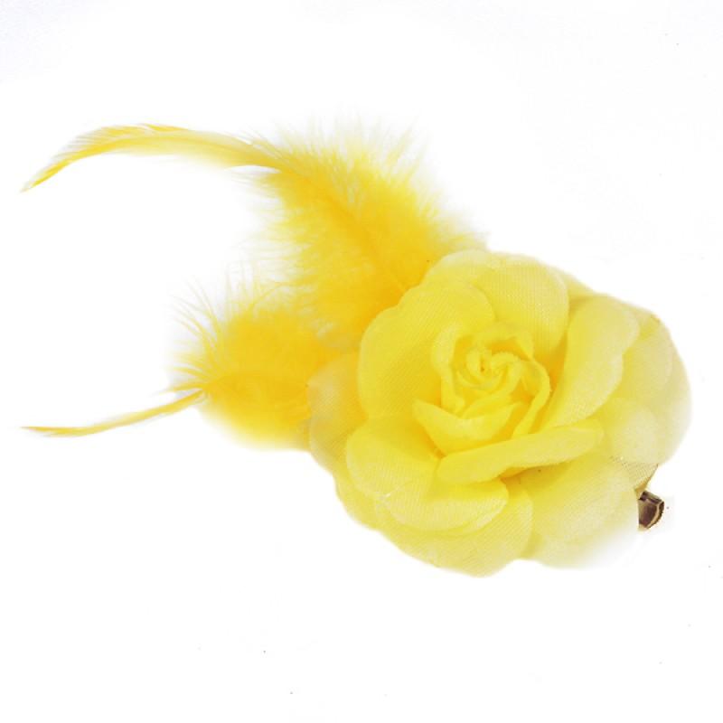 Pince Mariage Fleur Organza Plumes Jaune