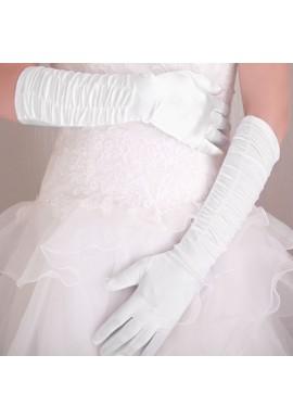 Gants Longs Satin Plissé Store Blanc