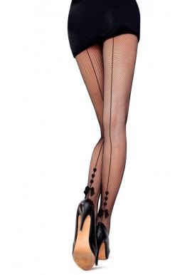 Collant Resille Noir Effet Couture 3 Coeurs Noeud