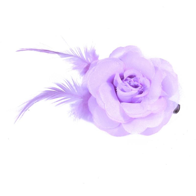 Pince Mariage Fleur Organza Plumes Violet