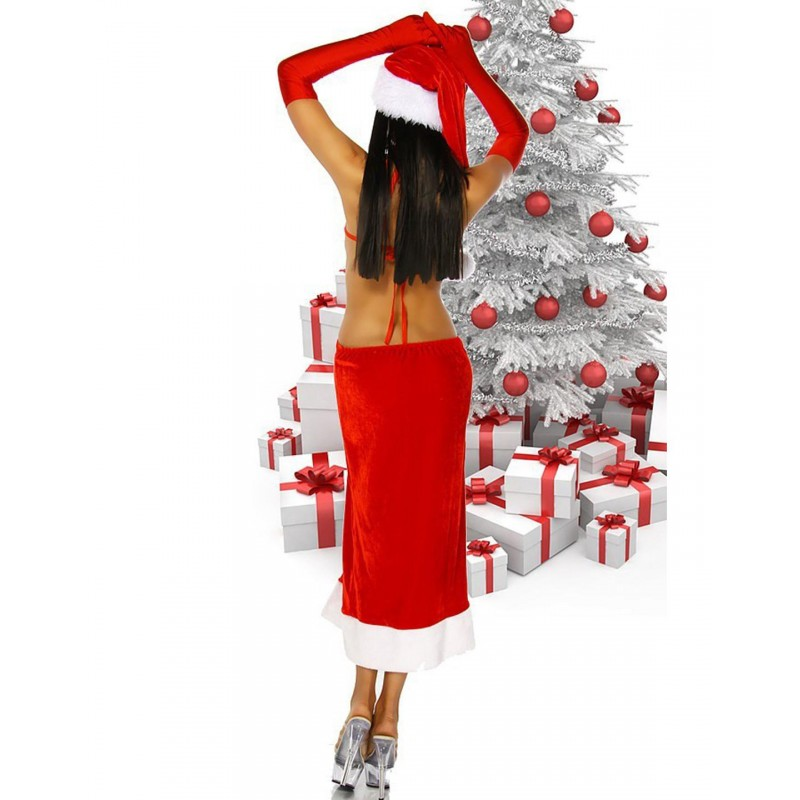 Tenue Mère Noël Sexy Robe Soirée Ouverte