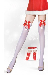 Bas Voile FrouFrou Mere Noël Flocon Neige (Rouge, Blanc)