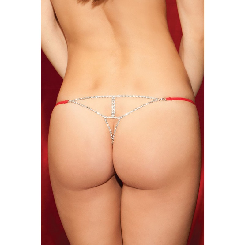 String Voile Strass Rouge