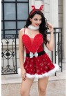 Tenue Mère Noël Sexy Robe Snowflake Noeud 5pcs