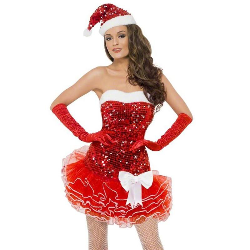 Tenue Mère Noël Sexy Robe Scintillants Noeud Tutu