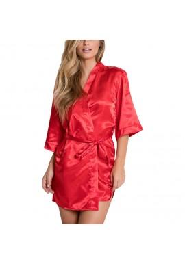 Kimono peignoir Satin Rouge