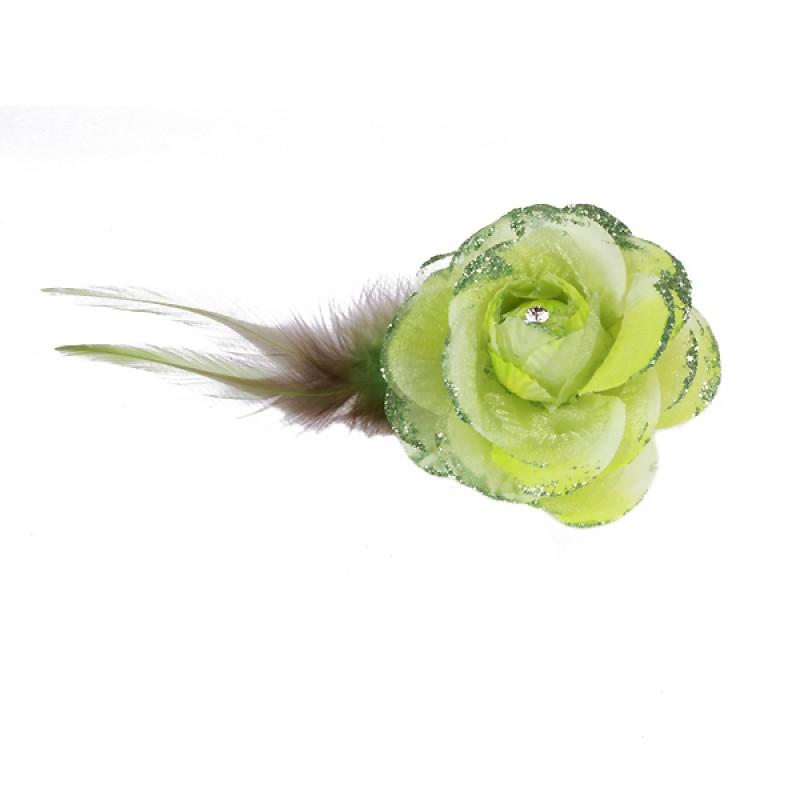 Pince Broche Mariage Fleur Tissu Scintillant Strass Vert
