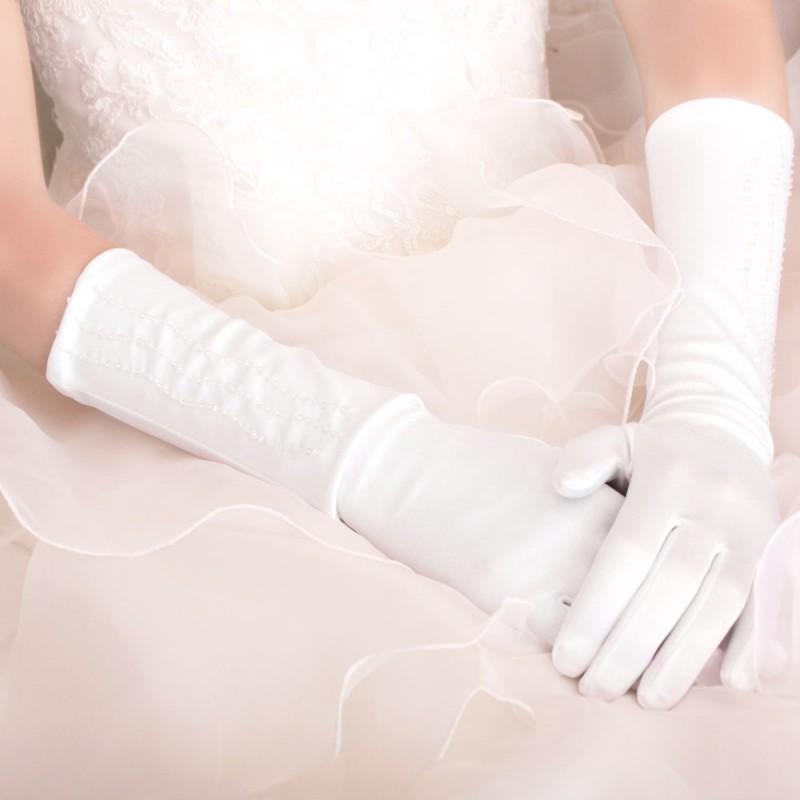 Gants Longs Blancs Vagues De Perles