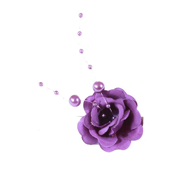 Pince Mariage Fleur Tissu Perlés Violet