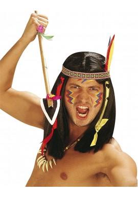 Widmann Perruque Indienne Noire Bandeau Multicolore