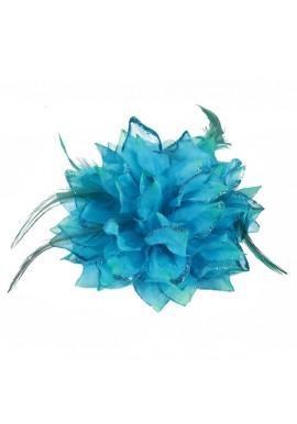 Pince Broche Elastique Mariage Fleur Tulle et Dentelle Scintillants Bleu