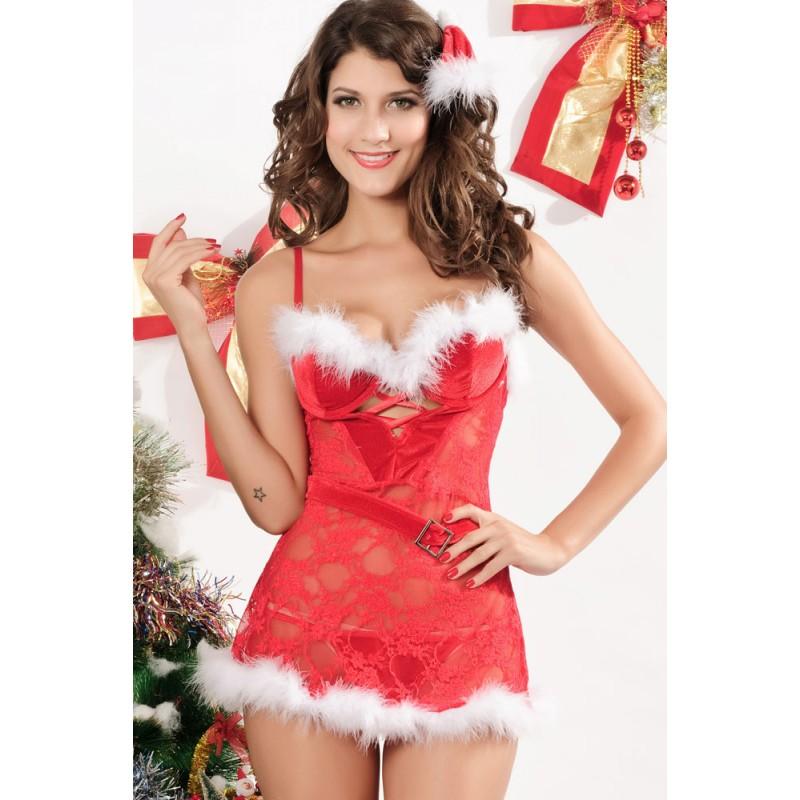 Nuisette Mère Noël Christmas Dentelle